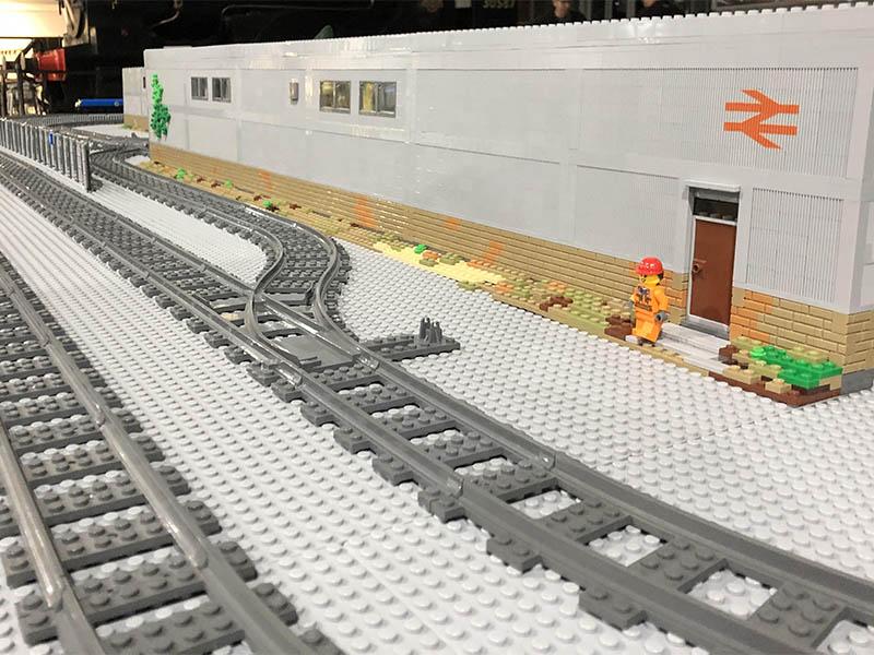 LEGO model of a railway diesel depot - on LNUR layout
